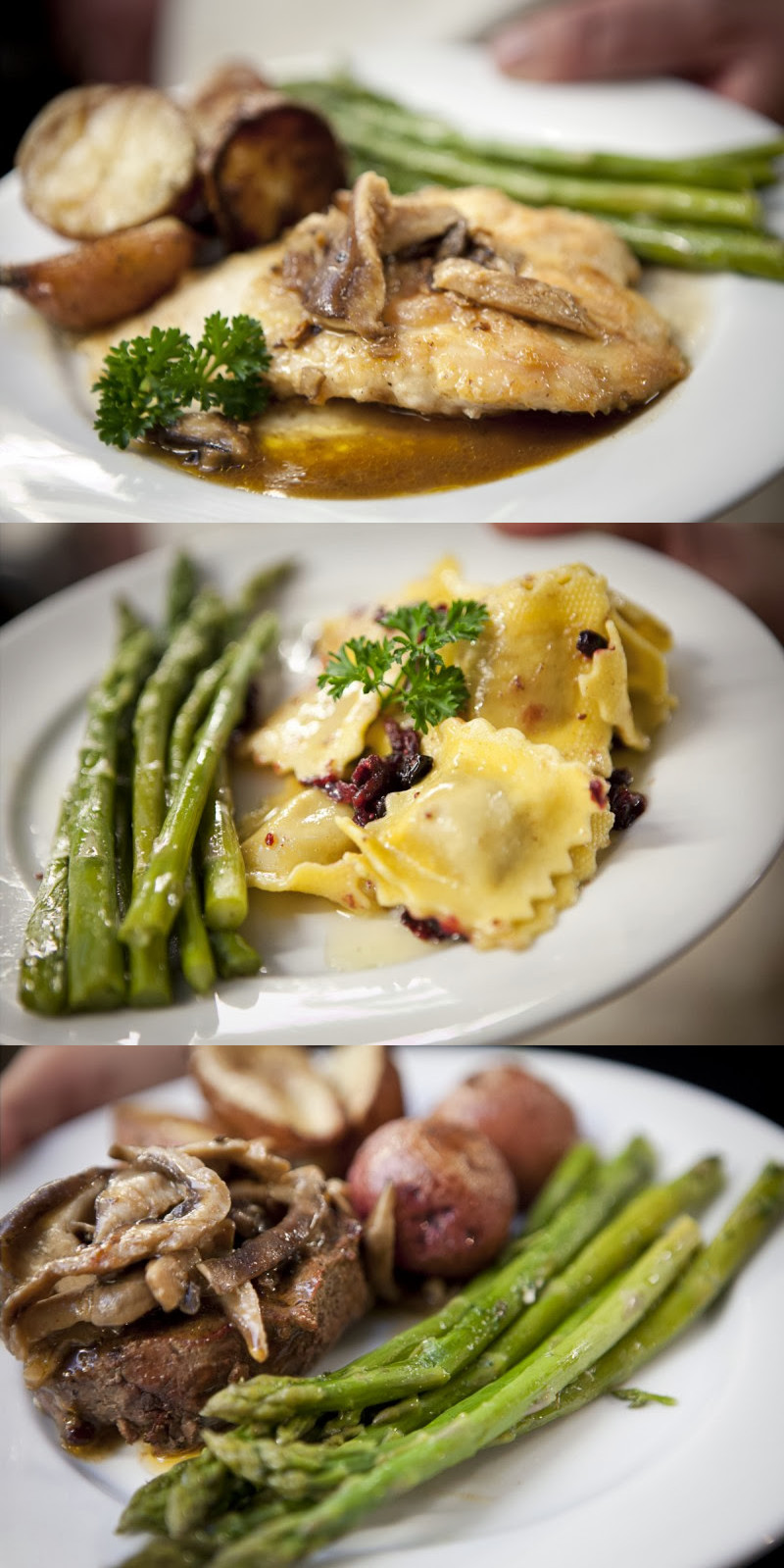 walleye, ravioli and steak - entree options